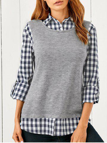 Unique Spliced Plaid Blouse