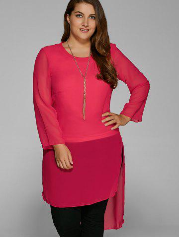 Chic Plus Size High Low Hem Sheer Blouse