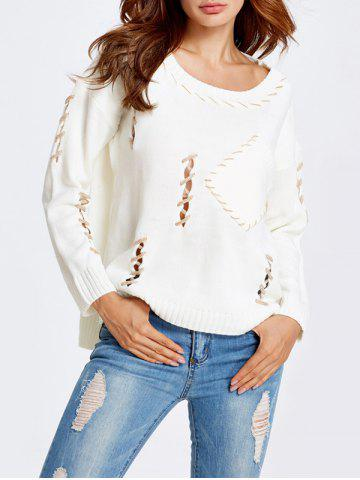 Affordable High-Low Cut Out Baggy Sweater WHITE ONE SIZE