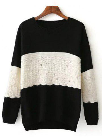 Latest Crew Neck Color Block High Low Sweater