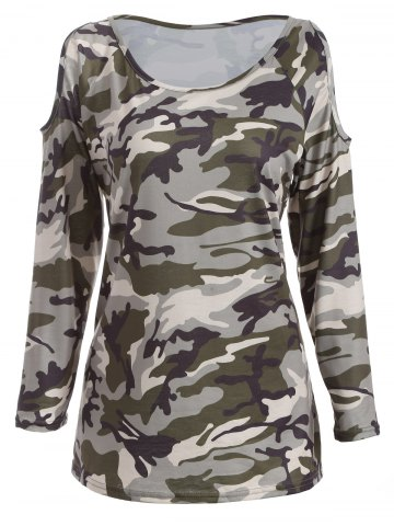 Shops Cold Shoulder Camo Long Sleeve T-Shirt CAMOUFLAGE XL