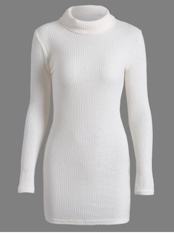 Affordable Casual Mini Long Sleeve Bodycon Turtleneck Sweater Dress WHITE XL