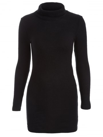 Casual Mini Long Sleeve Bodycon Turtleneck Sweater Dress - Black - S