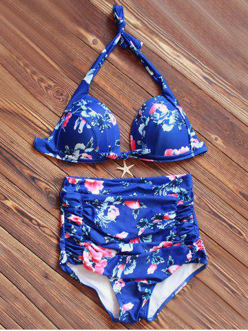 Buy Halter High Waisted Tropical Bikini BLUE 3XL
