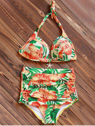 Discount Halter High Waisted Floral Tropical Bikini ORANGE 3XL
