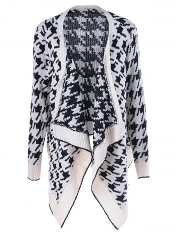 Hot Asymmetrical Geometrical Loose Collarless Cardigan WHITE ONE SIZE