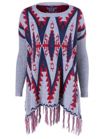 Fashion Geometrical Fringed Color Block Pullover Sweater