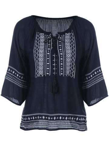 Buy Embroidery Loose Peasant Blouse