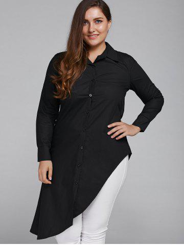 Discount Long Sleeve Casual Plus Size Asymmetrical Shirt