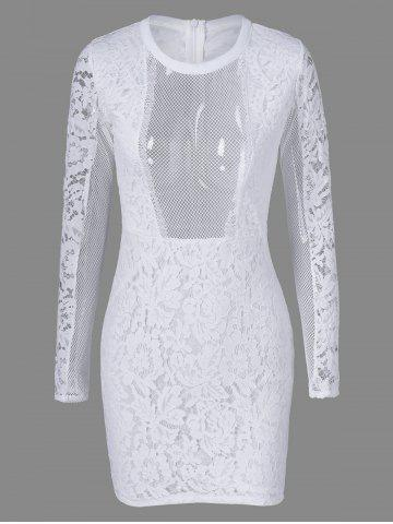 Tight Mesh See Through Sheer Lace Fitted Dress - White - M