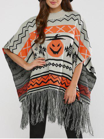 Chic Hallowmas Jacquard Fringed Cape Sweater GRAY XL