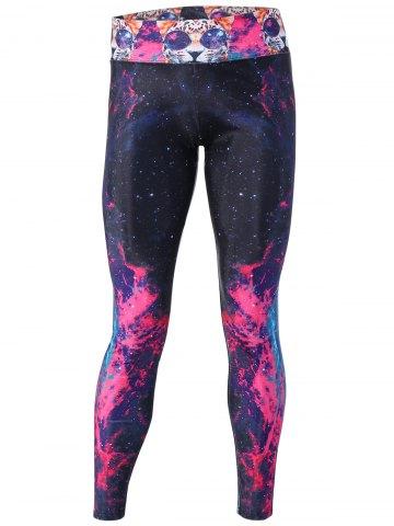 Buy Dreamlike Flame Galaxy and Cat Print Yoga Pants