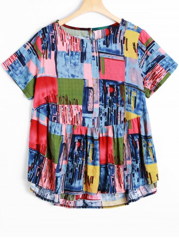 Best Plus Size Abstract Print Asymmetrical Blouse