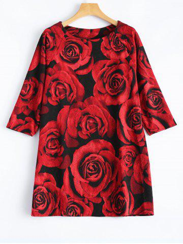 Outfits 3D Rose Print Plus Size 3/4 Sleeve T-Shirt RED ONE SIZE