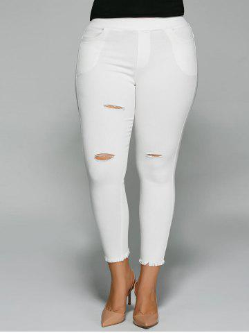 Outfit Plus Size Ripped Capri Skinny Pants