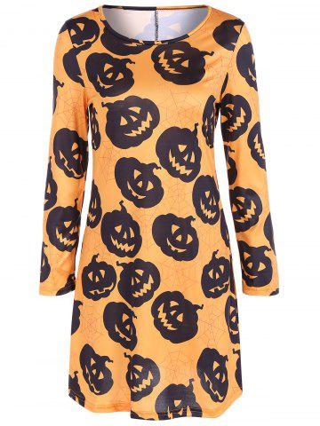 Shops Pumpkin Print Long Sleeve Halloween Mini Swing Dress SWEET ORANGE L