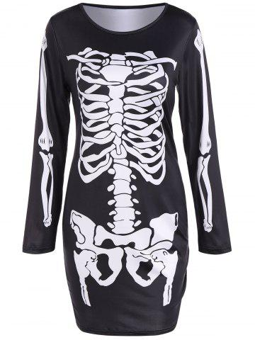 Outfits Skeleton Print Long Sleeve Halloween Mini Dress