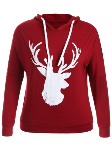 Shop Fawn Print Christmas Jumper Hoodie WINE RED 3XL