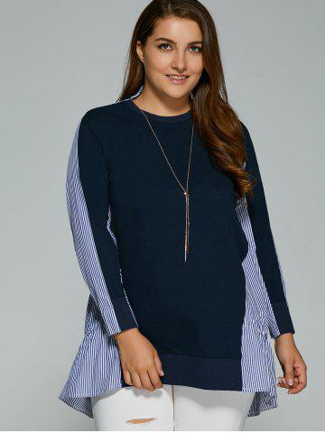 Chic Long Sleeve Plus Size Striped Insert Top PURPLISH BLUE 4XL