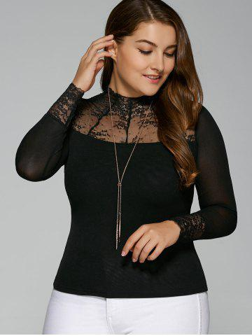 Fashion Plus Size Lace Insert Elastic T-Shirt with Long Sleeve