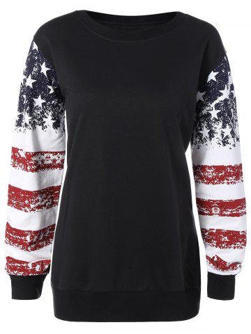 Trendy Stars and Stripes Drop Shouler Sweatshirt BLACK 3XL