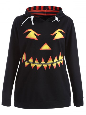 Affordable Plus Size Long Sleeve Pumpkin Print Christmas Hoodie - 4XL BLACK Mobile