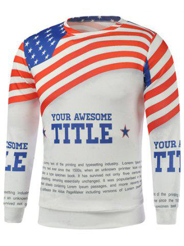 Best American Flag Letters Print Long Sleeve Sweatshirt