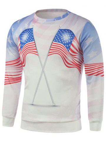 Shop American Flags Print Long Sleeve Sweatshirt WHITE 3XL