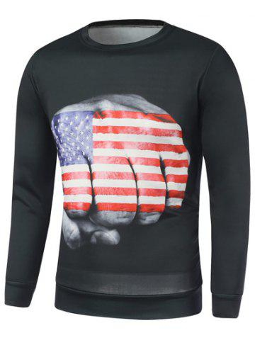 Affordable American Flag Fist Print Long Sleeve Sweatshirt