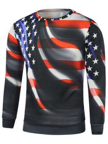 Latest American Flag Star Print Long Sleeve Sweatshirt - L BLACK Mobile
