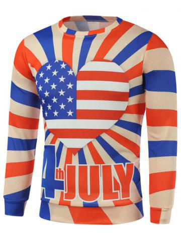 Latest American Flag Heart Letter Print Long Sleeve Sweatshirt