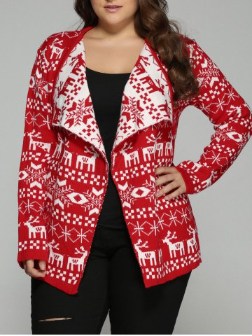 Trendy Christmas Jacquard Cute Plus Size Cardigan - 3XL RED Mobile