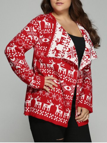 Outfit Christmas Jacquard Cute Plus Size Cardigan - 2XL RED Mobile