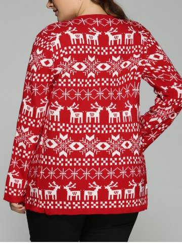 Discount Christmas Jacquard Cute Plus Size Cardigan - 2XL RED Mobile