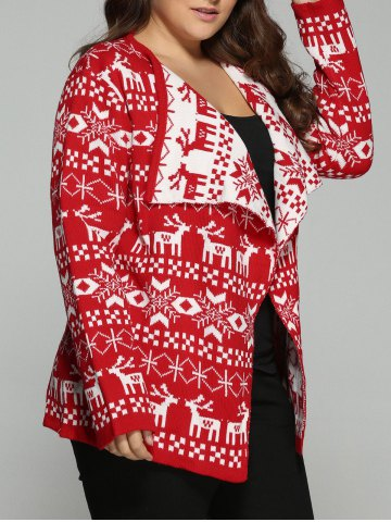 Discount Christmas Jacquard Cute Plus Size Cardigan - XL RED Mobile