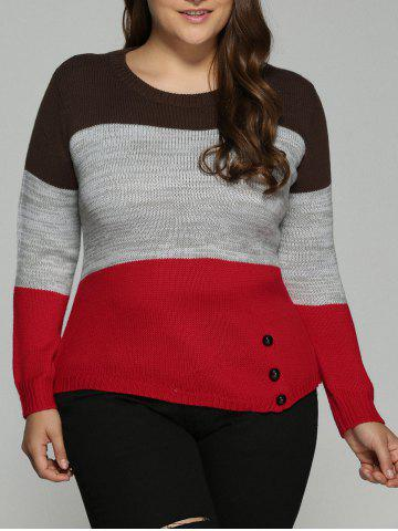 Discount Plus Size Color Block Pullover Knit Sweater COLORMIX 4XL