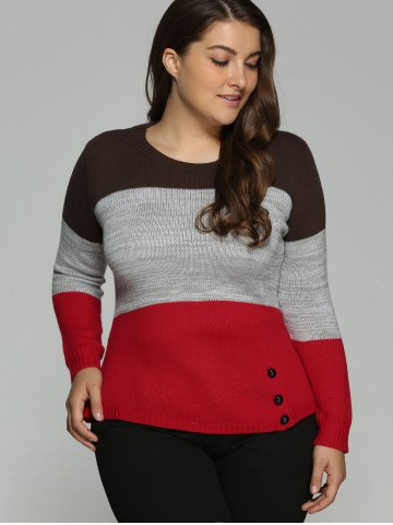 Outfits Plus Size Color Block Pullover Knit Sweater - 4XL COLORMIX Mobile