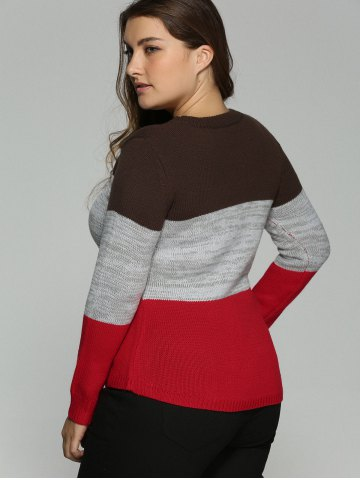 Buy Plus Size Color Block Pullover Knit Sweater - XL COLORMIX Mobile