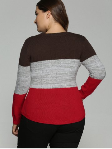 Latest Plus Size Color Block Pullover Knit Sweater - XL COLORMIX Mobile