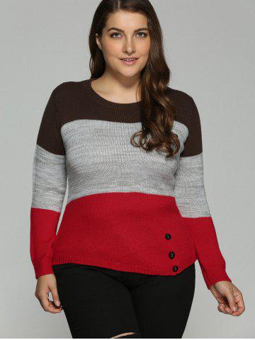 Outfit Plus Size Color Block Pullover Knit Sweater - XL COLORMIX Mobile