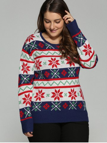 Outfit Plus Size Christmas Jacquard Pullover Knit Sweater - 5XL WHITE Mobile