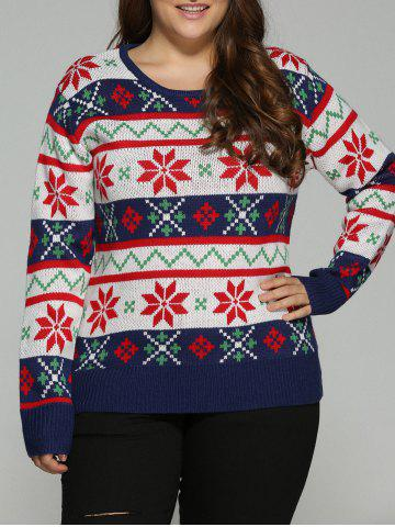 Cheap Plus Size Christmas Jacquard Pullover Knit Sweater WHITE 5XL