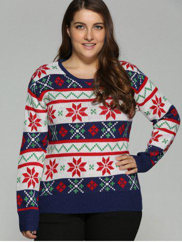 Online Plus Size Christmas Jacquard Pullover Knit Sweater - 5XL WHITE Mobile