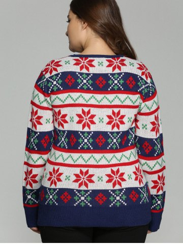 Sale Plus Size Christmas Jacquard Pullover Knit Sweater - XL WHITE Mobile