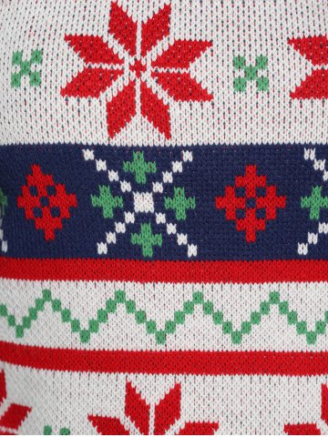Online Plus Size Christmas Jacquard Pullover Knit Sweater - XL WHITE Mobile