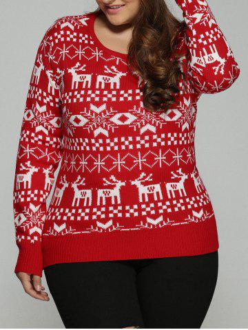 Plus Size Christmas Jacquard Knit Sweater - RED 5XL