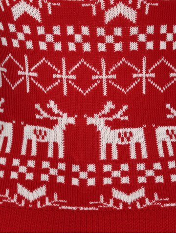 Buy Plus Size Christmas Jacquard Knit Sweater - 4XL RED Mobile