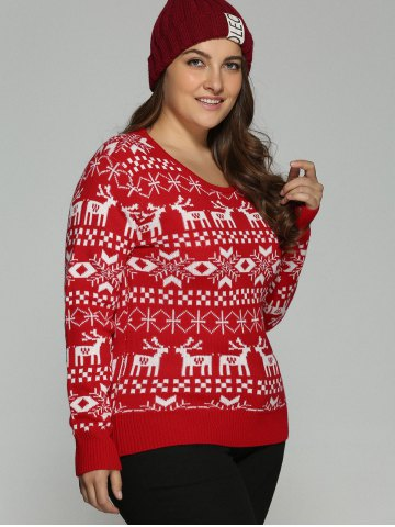 Discount Plus Size Christmas Jacquard Knit Sweater - 3XL RED Mobile