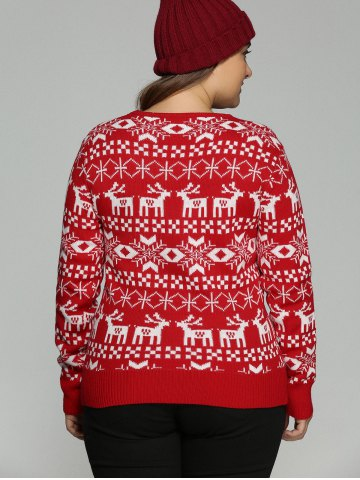 Buy Plus Size Christmas Jacquard Knit Sweater - 3XL RED Mobile