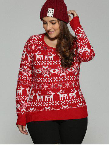 Online Plus Size Christmas Jacquard Knit Sweater - 3XL RED Mobile